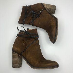 Franco Sarto L-Edaline leather stacked heel bootie